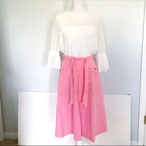 Vintage Pink Wrap Skirt with Lace Details